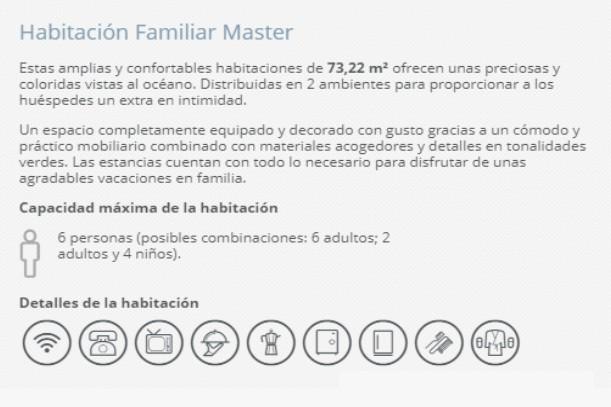 Hotel Barceló Ixtapa Habitación Familiar Master para 6 adultos (posibles combinaciónes): 6 adultos; 2 adultos y 4 niños en el Hotel Barceló Ixtapa Cuartos con Vista al Mar