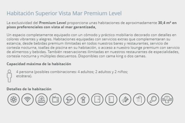 Hotel Barceló Ixtapa Habitación Premium Level para 4 personas con Vista al Mar en el Hotel Barceló Ixtapa Cuartos