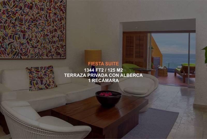 Hotel Brisas Ixtapa Habitación Fiesta Suite cuenta con una recámara y terraza con alberca privada