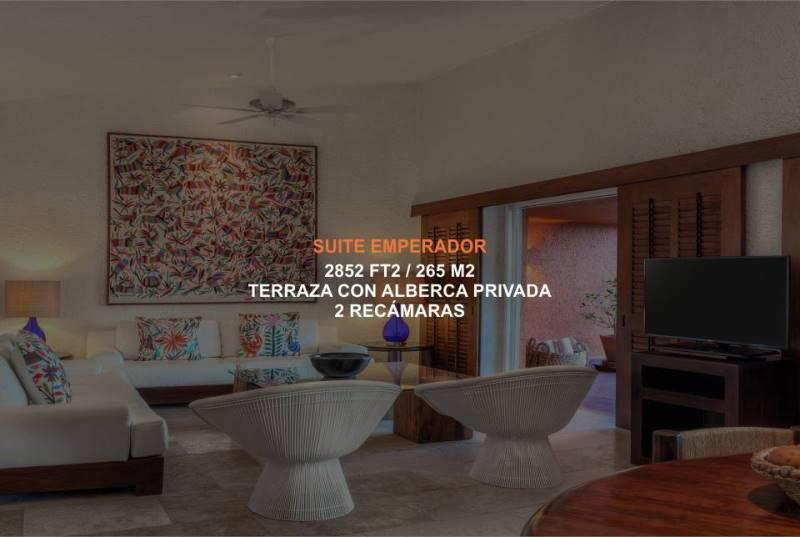 Hotel Brisas Ixtapa Habitación Suite Emperador, con 2 recámaras, alberca privada, terraza privada, ideal para disfrutar de sus vacaciones en familia en Ixtapa Zihuatanejo