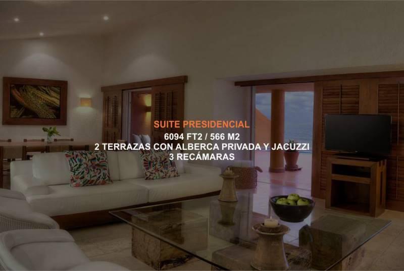 Hotel Brisas Ixtapa Habitación Suite Presidencial. El máximo lujo y comodidad para su familia, dispone de 3 recámaras con 2 terrazas con alberca privada y jacuzzi