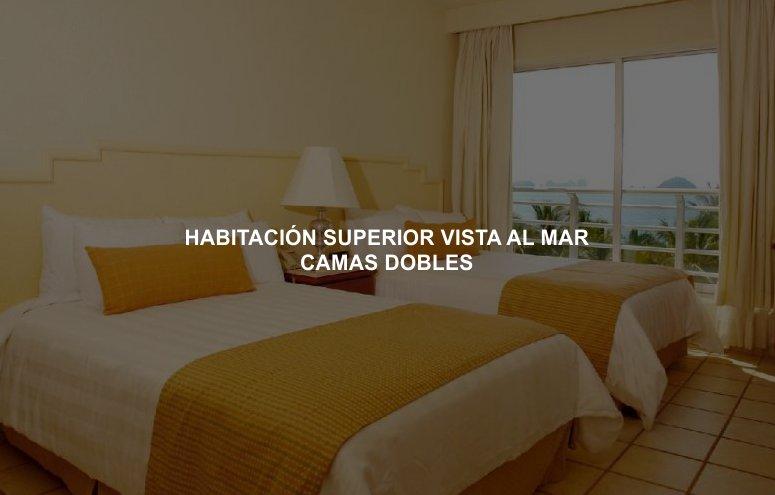 Hotel Emporio Ixtapa Cuartos con vista al mar con camas dobles para 4 personas, disfruta de tus vacaciones en el Hotel Emporio Ixtapa