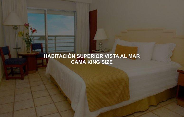 Hotel Emporio Ixtapa Cuartos con cama king size y vista al mar, cotiza tus vacaciones en el Hotel Emporio Ixtapa