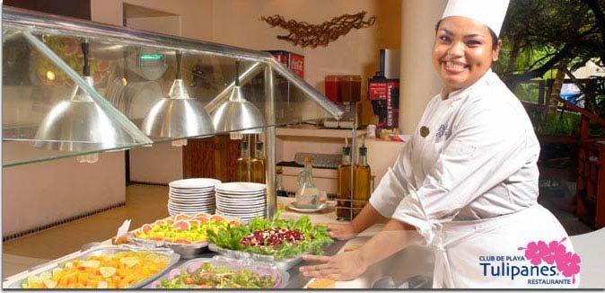 Hotel Pacífica Ixtapa Restaurante Tulipanes. Para desayunar, comer o cenar una gran variedad de platillos, así como para divertirse en nuestras noches temáticas en sus vacaciones en Ixtapa Zihuatanejo