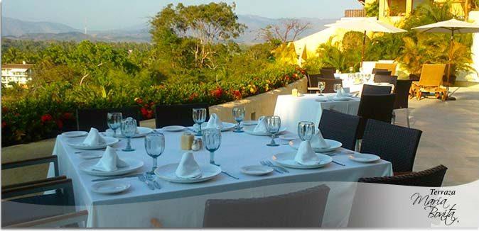 Hotel Pacífica Ixtapa Restaurante La Vista. Gastronomía italiana de la más alta calidad, atención esmerada y buena música, harán una experiencia única para sus sentidos en sus vacaciones en Ixtapa Zihuatanejo