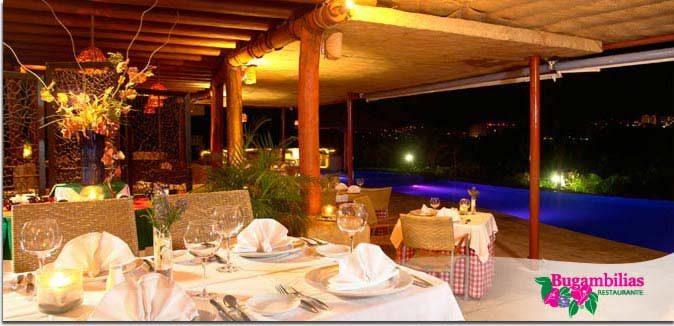 Hotel Pacífica Ixtapa Restaurante Bugambilias. La especialidad son deliciosos platillos de cocina italiana, para una velada romántica o una fantástica cena familiar, todo esto acompañado de la mejor vista de los atardeceres en la Bahía de Ixtapa Zihuatanejo