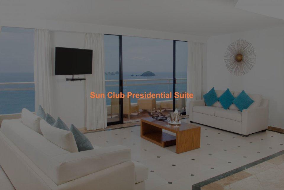Hotel Sunscape Ixtapa Habitación Sun Club Presidential Suite: Una cama king size, Vestidor, comedor con capacidad para 6 personas, pequeña sala de cine en casa con una TV LCD, reproductor de CD / DVD, un sistema de sonido envolvente y Wifi, balcón privado, Ubicación frente al mar con impresionantes vistas a Playa El Palmar en Ixtapa Zihuatanejo