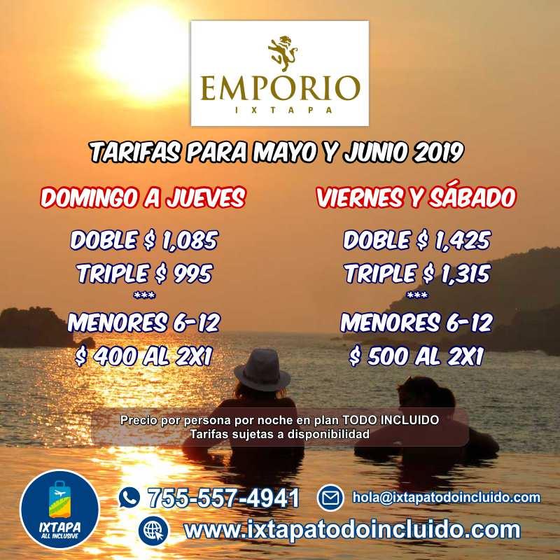 Paquetes a Ixtapa Zihuatanejo Todo Incluido Mayo y Junio 2019 Temporada Baja. Paquetes económicos a Ixtapa Zihuatanejo. Ofertas de temporada baja en Ixtapa Zihuatanejo 2019. Promociones de Hoteles en Ixtapa Zihuatanejo baratos. Hotel Emporio Ixtapa